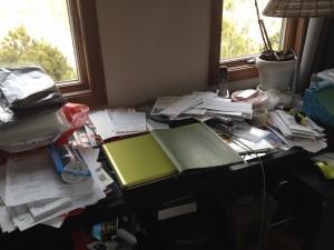 Desk before organizing